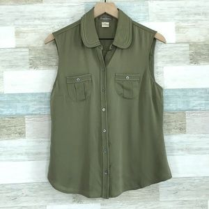 Silk Blouse Green Button Up Tommy Bahama